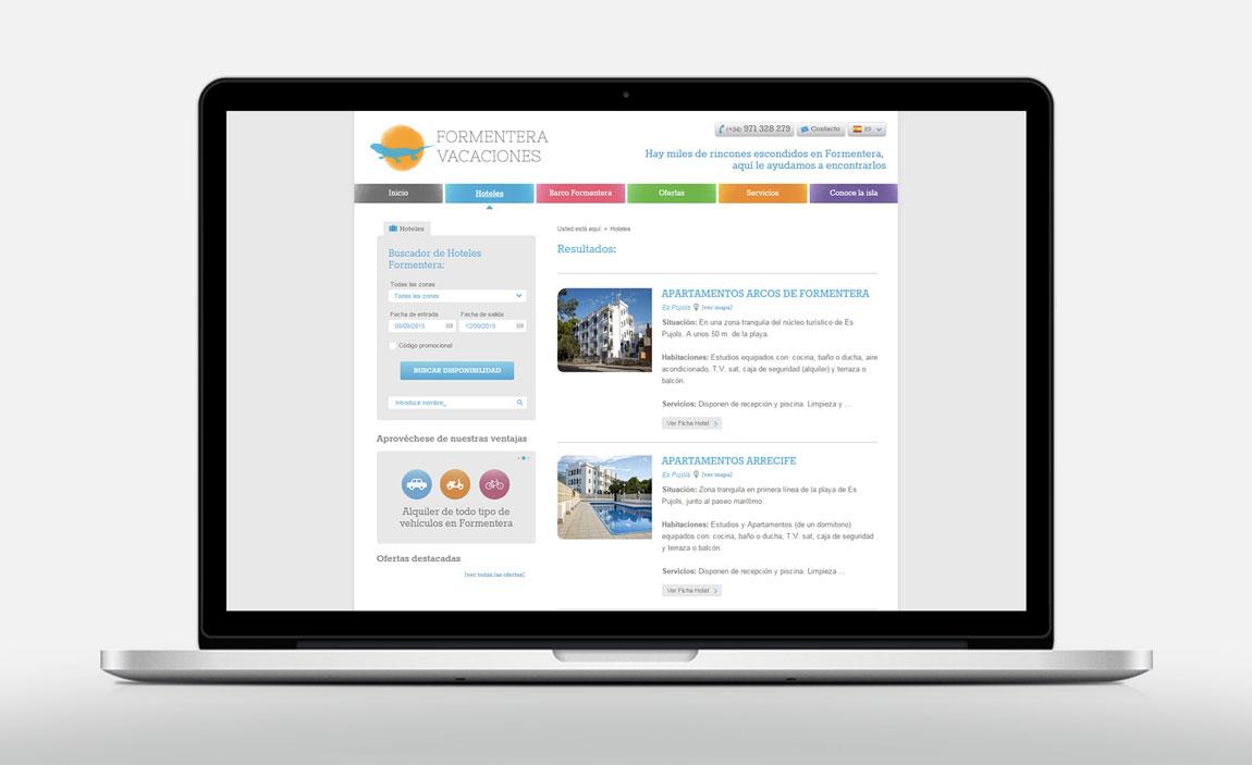 Diseño web Formentera Vacaciones