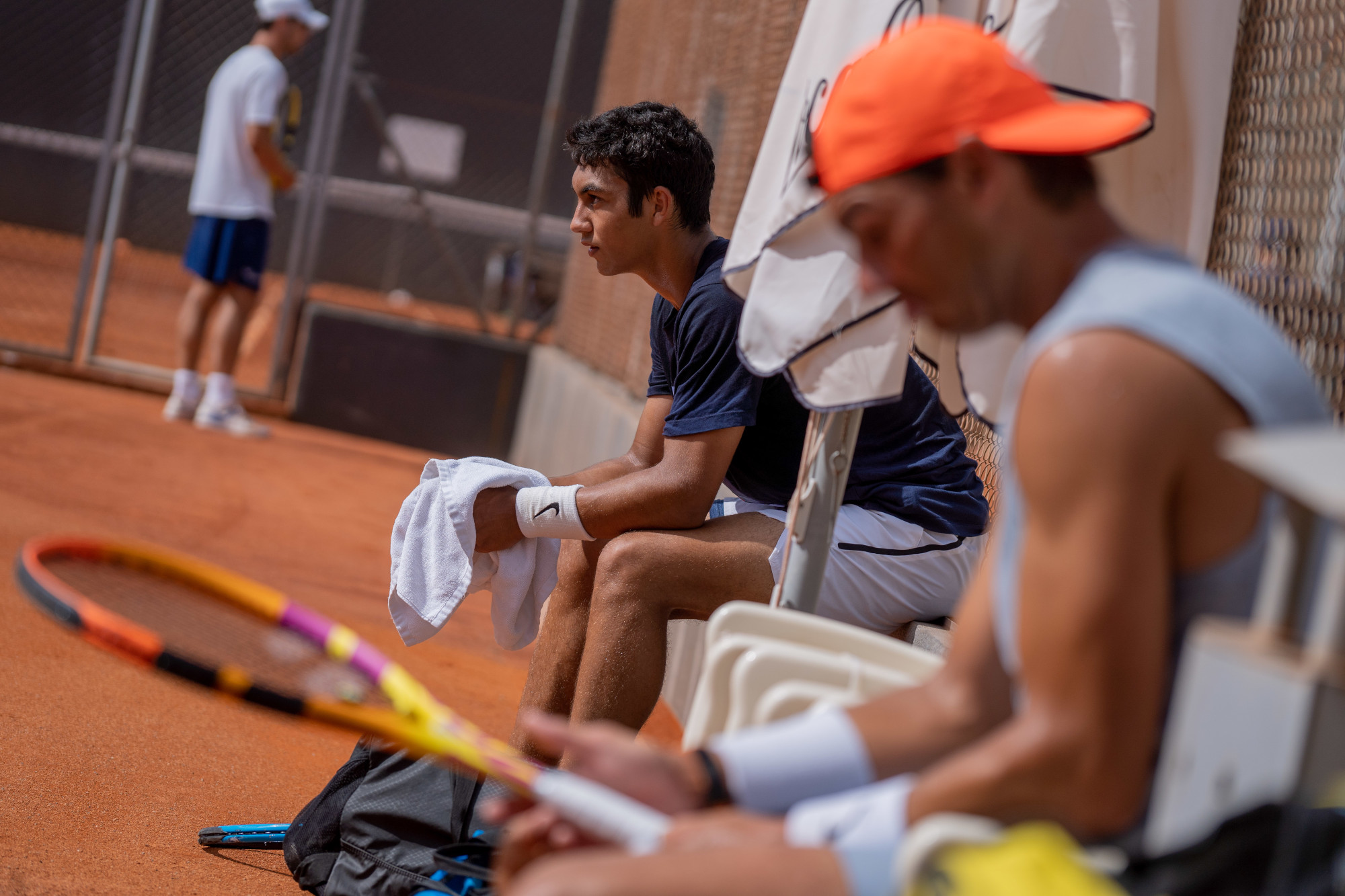 Rafa Nadal practices with Daniel Rincón in the Academy