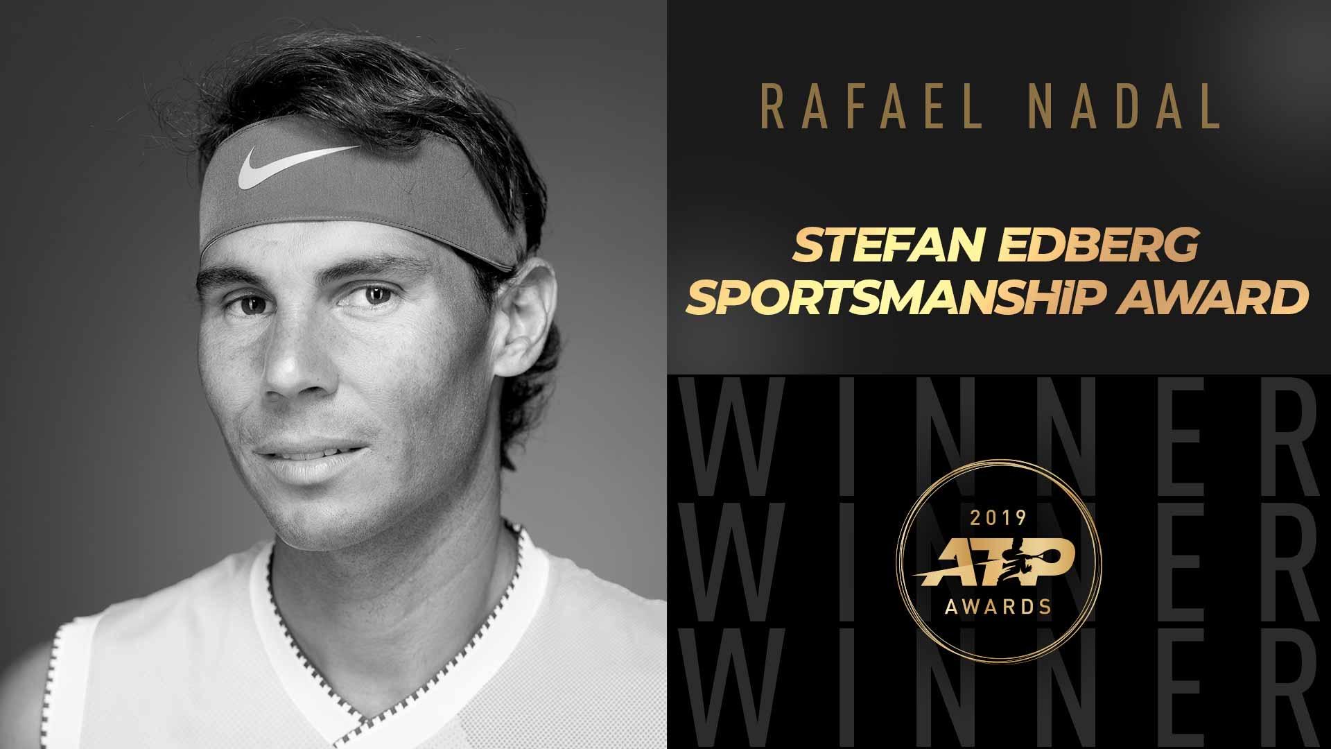Rafa Nadal recibe el Premio a la Deportividad Stefan Edberg de la ATP