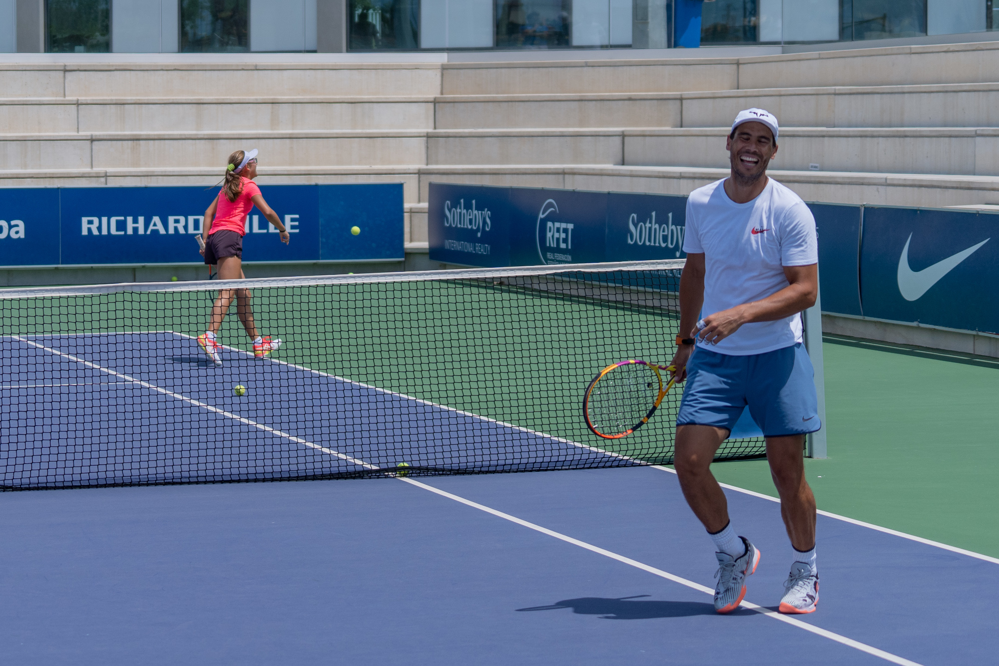 Rafa Nadal And Carlos Moya Face The Players Of The Academy